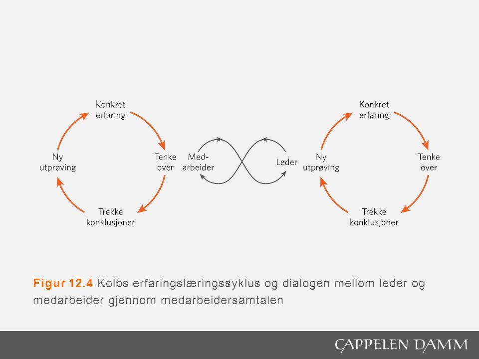 Figur 12.4 Kolbs erfaringslæringssyklus og dialogen mellom leder og medarbeider gjennom medarbeidersamtalen