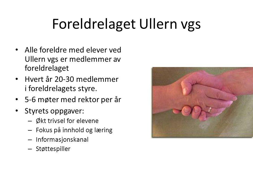 Foreldrelaget Ullern vgs Alle foreldre med elever ved Ullern vgs er medlemmer av foreldrelaget Hvert år 20-30 medlemmer i foreldrelagets styre. 5-6 mø