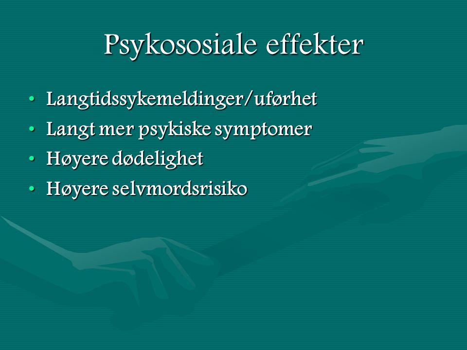 Psykososiale effekter Langtidssykemeldinger/uførhetLangtidssykemeldinger/uførhet Langt mer psykiske symptomerLangt mer psykiske symptomer Høyere dødelighetHøyere dødelighet Høyere selvmordsrisikoHøyere selvmordsrisiko