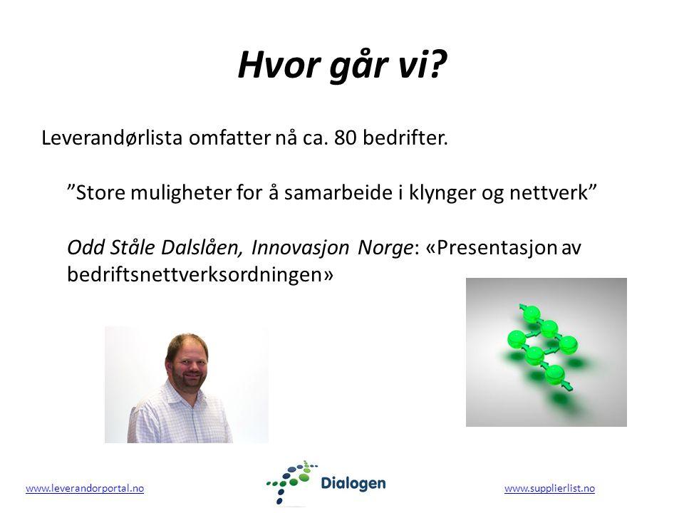 www.leverandorportal.nowww.leverandorportal.no www.supplierlist.nowww.supplierlist.no Hvor går vi.