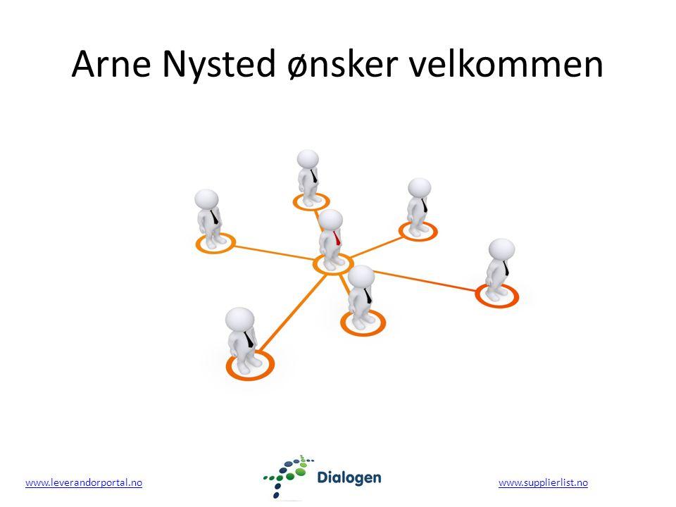 www.leverandorportal.nowww.leverandorportal.no www.supplierlist.nowww.supplierlist.no Arne Nysted ønsker velkommen