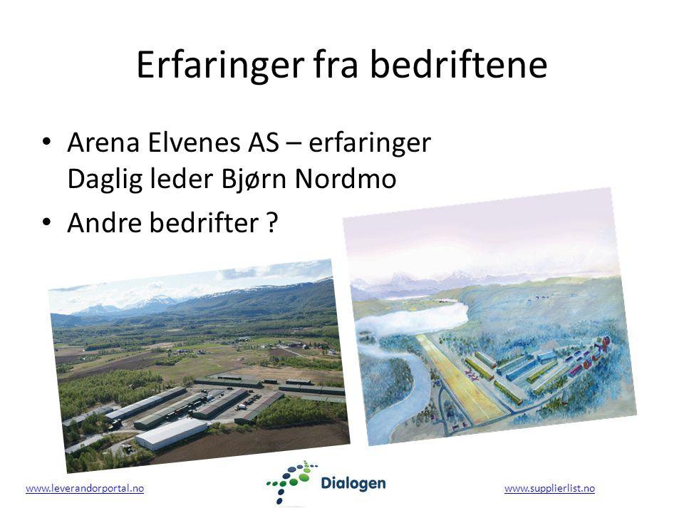www.leverandorportal.nowww.leverandorportal.no www.supplierlist.nowww.supplierlist.no Erfaringer fra bedriftene Arena Elvenes AS – erfaringer Daglig leder Bjørn Nordmo Andre bedrifter