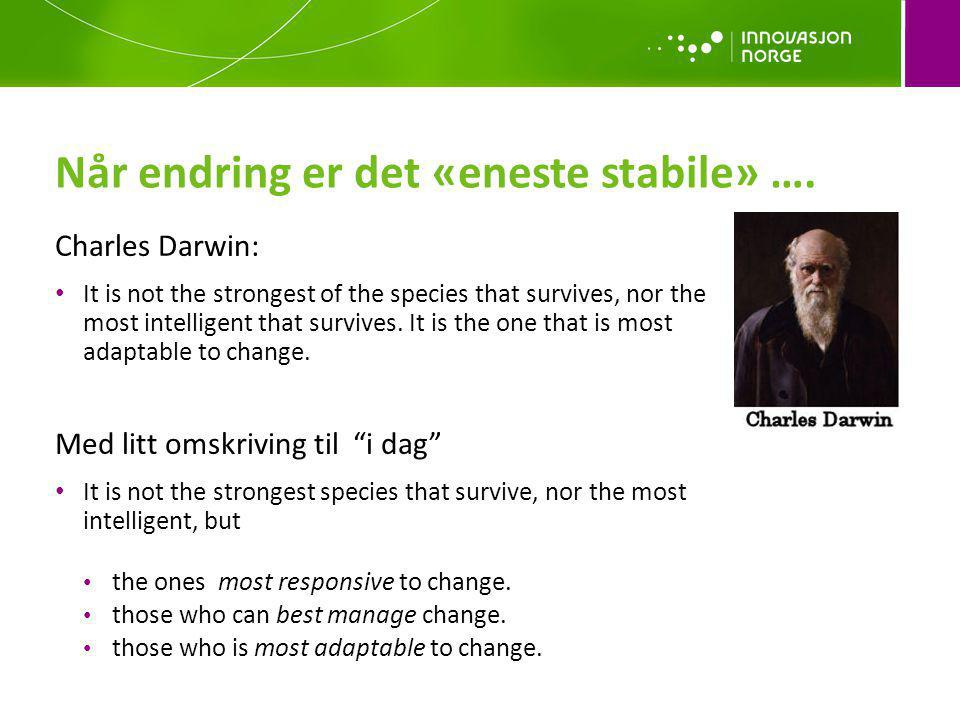 Når endring er det «eneste stabile» …. Charles Darwin: It is not the strongest of the species that survives, nor the most intelligent that survives. I