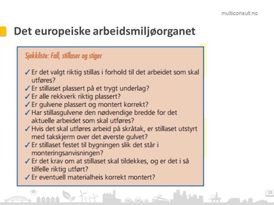 multiconsult.no 18 Det europeiske arbeidsmiljøorganet
