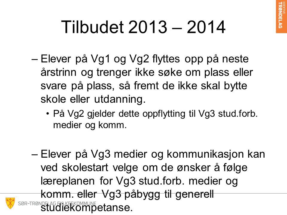 Tilbudet 2013 – 2014 –Elever på Vg1 og Vg2 flyttes opp på neste årstrinn og trenger ikke søke om plass eller svare på plass, så fremt de ikke skal byt