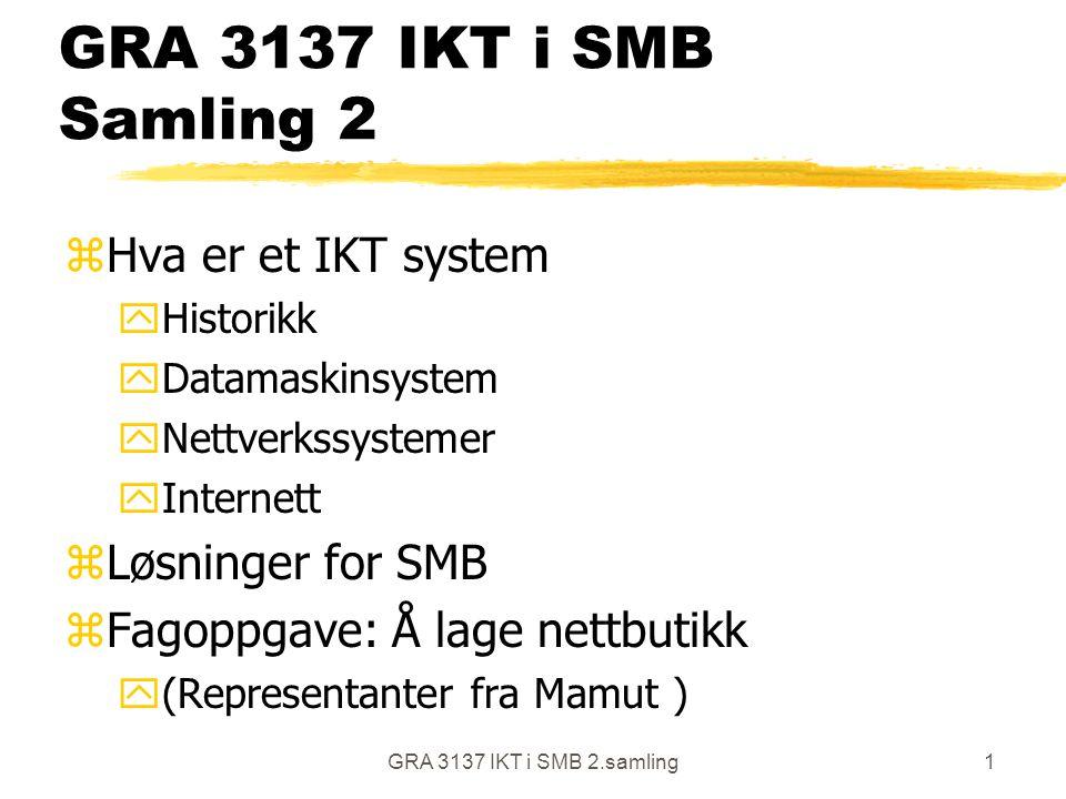 GRA 3137 IKT i SMB 2.samling1 GRA 3137 IKT i SMB Samling 2 zHva er et IKT system yHistorikk yDatamaskinsystem yNettverkssystemer yInternett zLøsninger