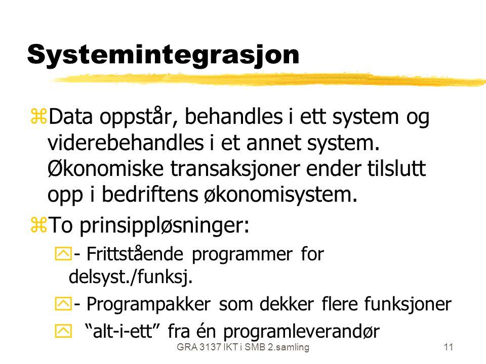 GRA 3137 IKT i SMB 2.samling11 Systemintegrasjon zData oppstår, behandles i ett system og viderebehandles i et annet system. Økonomiske transaksjoner