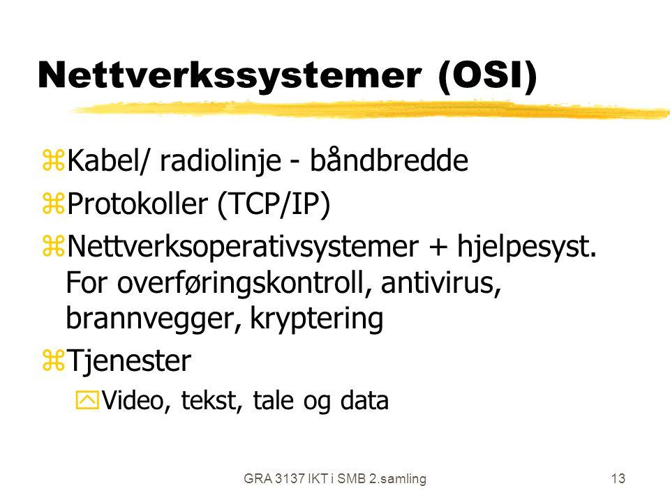 GRA 3137 IKT i SMB 2.samling13 Nettverkssystemer (OSI) zKabel/ radiolinje - båndbredde zProtokoller (TCP/IP) zNettverksoperativsystemer + hjelpesyst.