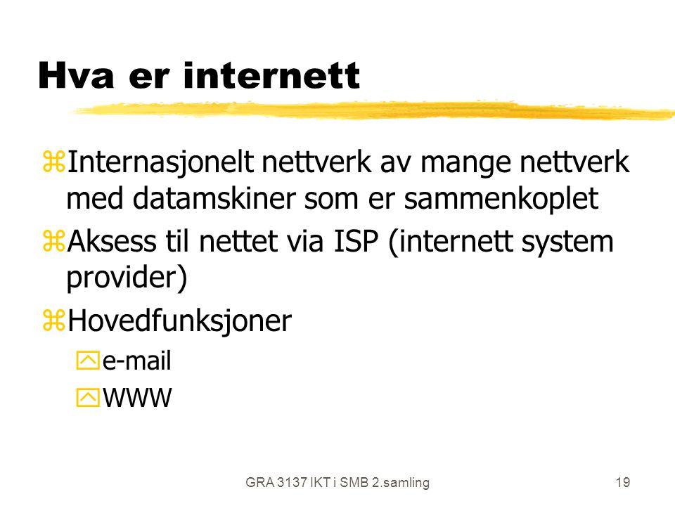 GRA 3137 IKT i SMB 2.samling19 Hva er internett zInternasjonelt nettverk av mange nettverk med datamskiner som er sammenkoplet zAksess til nettet via