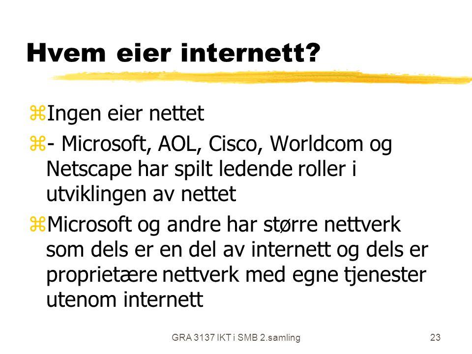 GRA 3137 IKT i SMB 2.samling23 Hvem eier internett? zIngen eier nettet z- Microsoft, AOL, Cisco, Worldcom og Netscape har spilt ledende roller i utvik