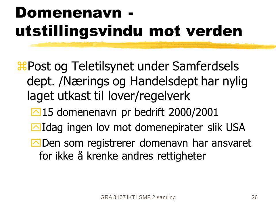 GRA 3137 IKT i SMB 2.samling26 Domenenavn - utstillingsvindu mot verden zPost og Teletilsynet under Samferdsels dept. /Nærings og Handelsdept har nyli