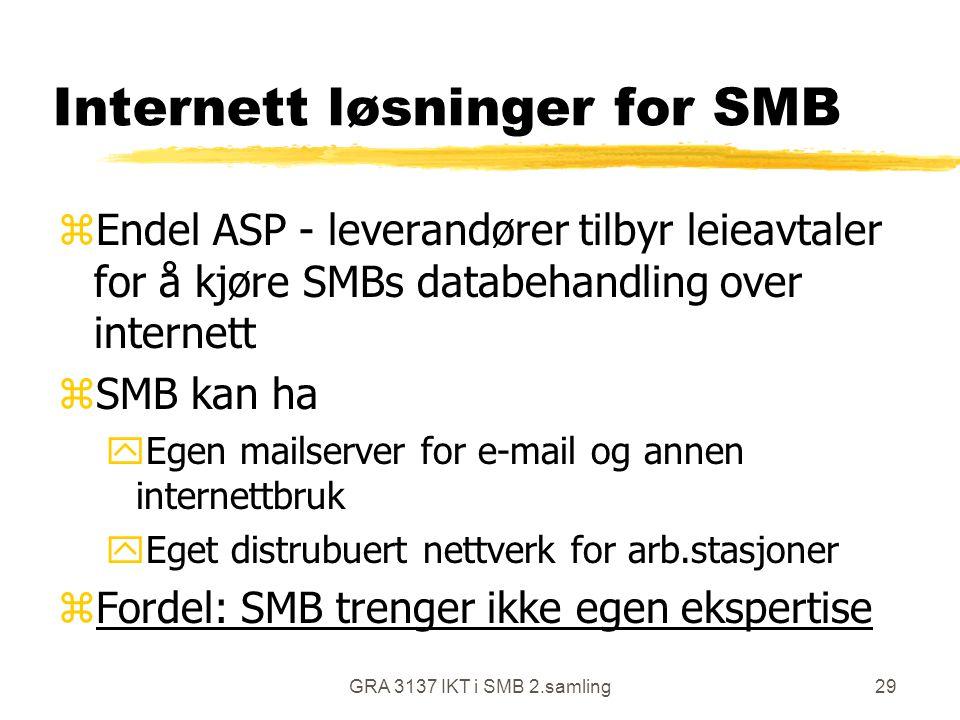 GRA 3137 IKT i SMB 2.samling29 Internett løsninger for SMB zEndel ASP - leverandører tilbyr leieavtaler for å kjøre SMBs databehandling over internett