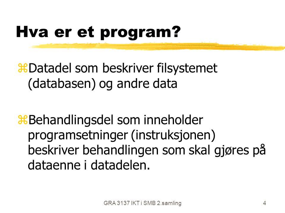 GRA 3137 IKT i SMB 2.samling4 Hva er et program? zDatadel som beskriver filsystemet (databasen) og andre data zBehandlingsdel som inneholder programse