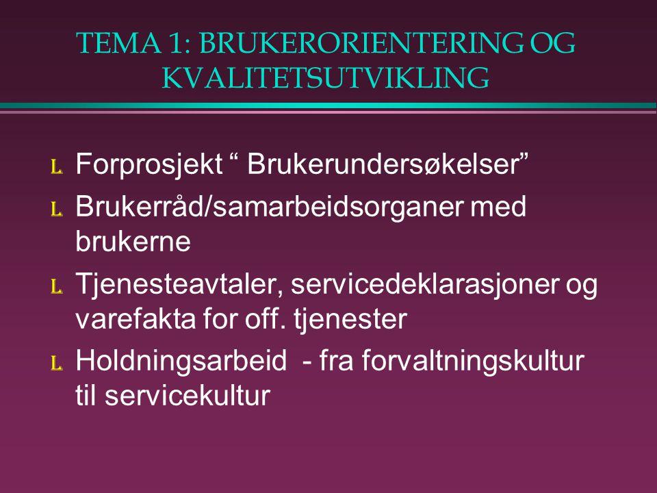 TEMA 1: BRUKERORIENTERING OG KVALITETSUTVIKLING l Forprosjekt Brukerundersøkelser l Brukerråd/samarbeidsorganer med brukerne l Tjenesteavtaler, servicedeklarasjoner og varefakta for off.