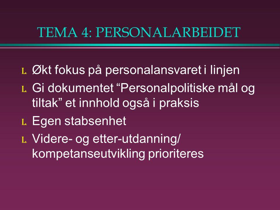 TEMA 4: PERSONALARBEIDET l Økt fokus på personalansvaret i linjen l Gi dokumentet Personalpolitiske mål og tiltak et innhold også i praksis l Egen stabsenhet l Videre- og etter-utdanning/ kompetanseutvikling prioriteres
