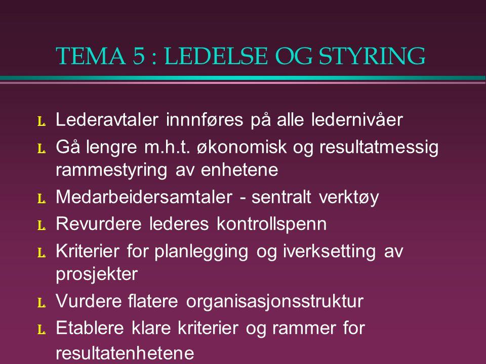 TEMA 5 : LEDELSE OG STYRING l Lederavtaler innnføres på alle ledernivåer l Gå lengre m.h.t.