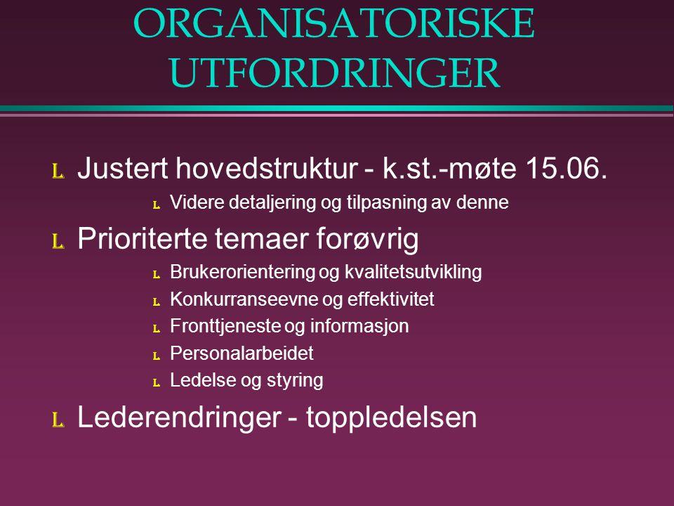 ORGANISATORISKE UTFORDRINGER l Justert hovedstruktur - k.st.-møte 15.06.