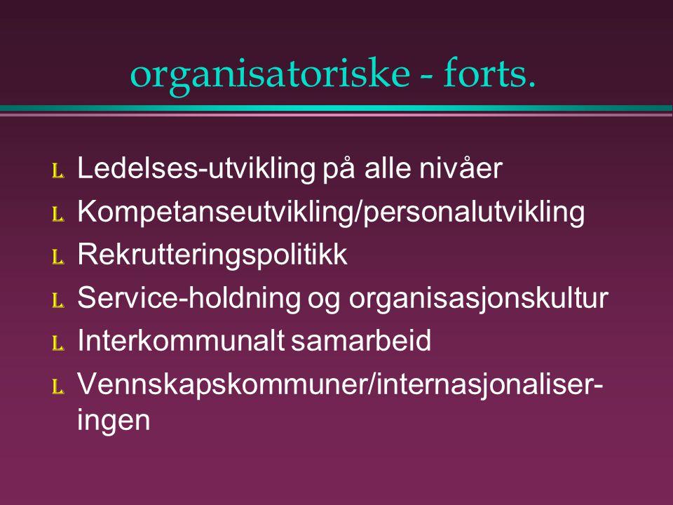 organisatoriske - forts.