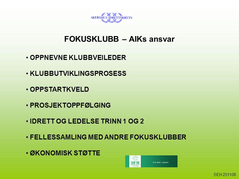 FOKUSKLUBB – AIKs ansvar OPPNEVNE KLUBBVEILEDER KLUBBUTVIKLINGSPROSESS OPPSTARTKVELD PROSJEKTOPPFØLGING IDRETT OG LEDELSE TRINN 1 OG 2 FELLESSAMLING M