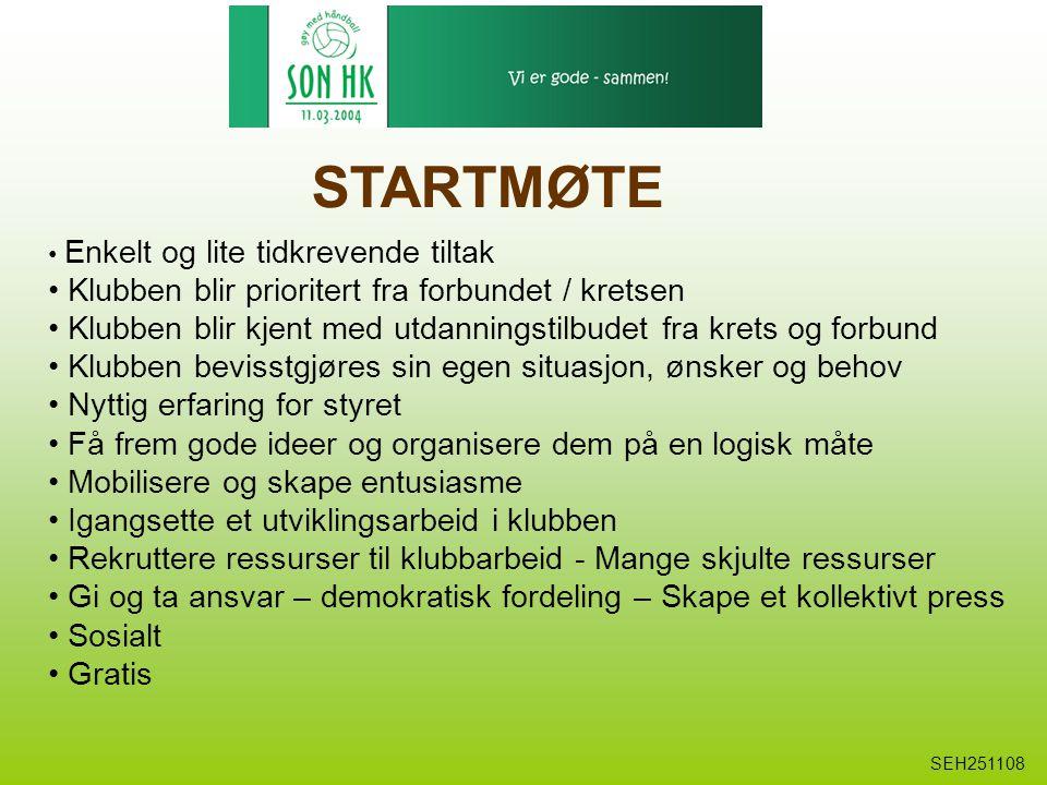 STARTMØTE Enkelt og lite tidkrevende tiltak Klubben blir prioritert fra forbundet / kretsen Klubben blir kjent med utdanningstilbudet fra krets og for