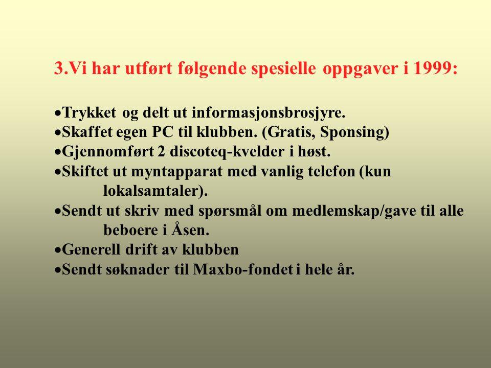 3.Vi har utført følgende spesielle oppgaver i 1999:  Trykket og delt ut informasjonsbrosjyre.