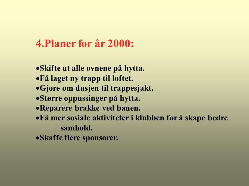 4.Planer for år 2000:  Skifte ut alle ovnene på hytta.
