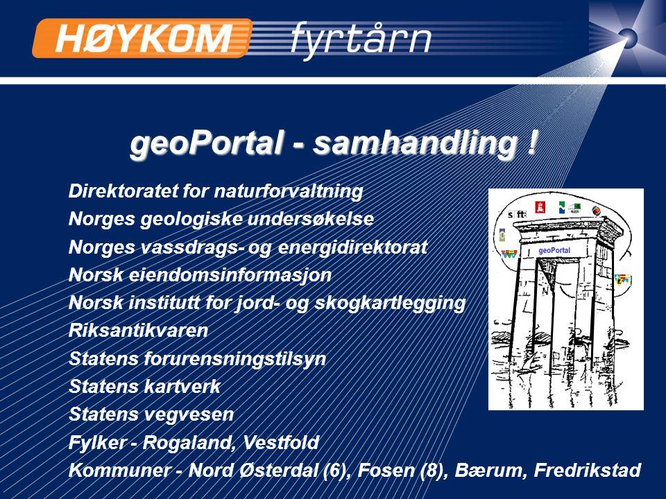 geoPortal - samhandling ! Direktoratet for naturforvaltning Norges geologiske undersøkelse Norges vassdrags- og energidirektorat Norsk eiendomsinforma