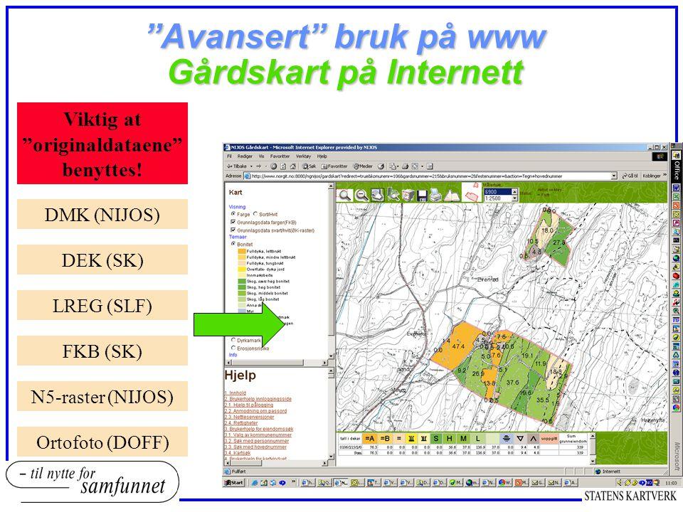 Avansert bruk på www Gårdskart på Internett DMK (NIJOS) DEK (SK) LREG (SLF) FKB (SK) N5-raster (NIJOS) Ortofoto (DOFF) Viktig at originaldataene benyttes!