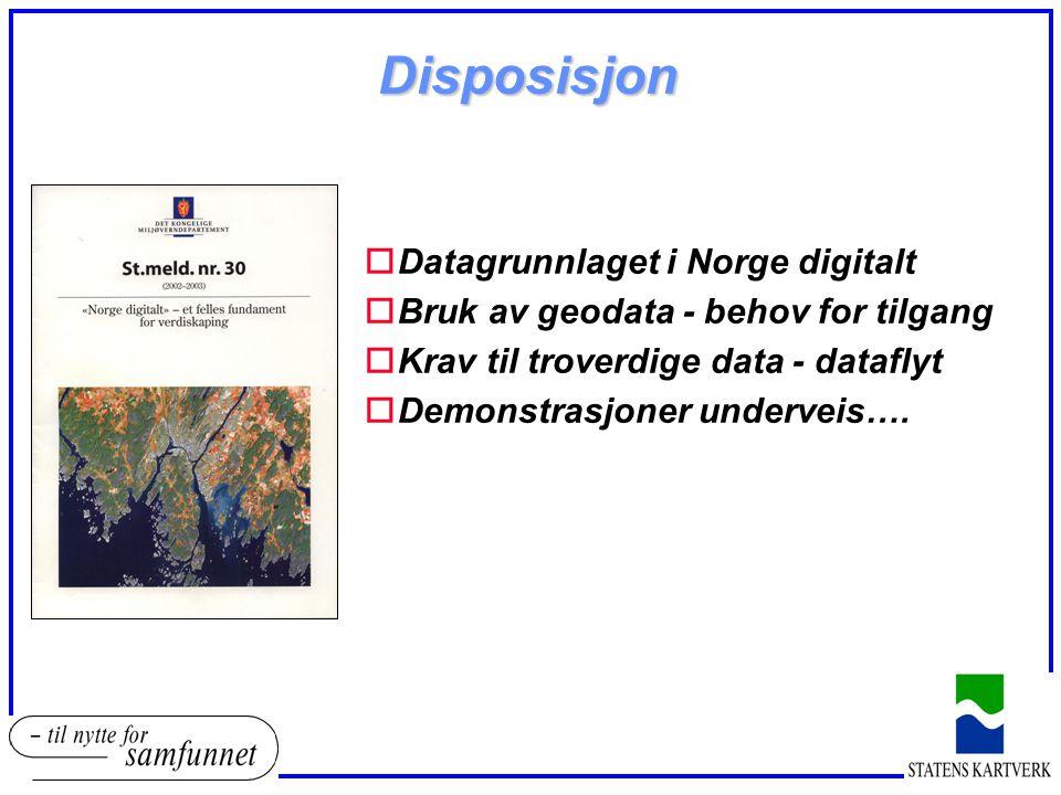 Disposisjon oDatagrunnlaget i Norge digitalt oBruk av geodata - behov for tilgang oKrav til troverdige data - dataflyt oDemonstrasjoner underveis….