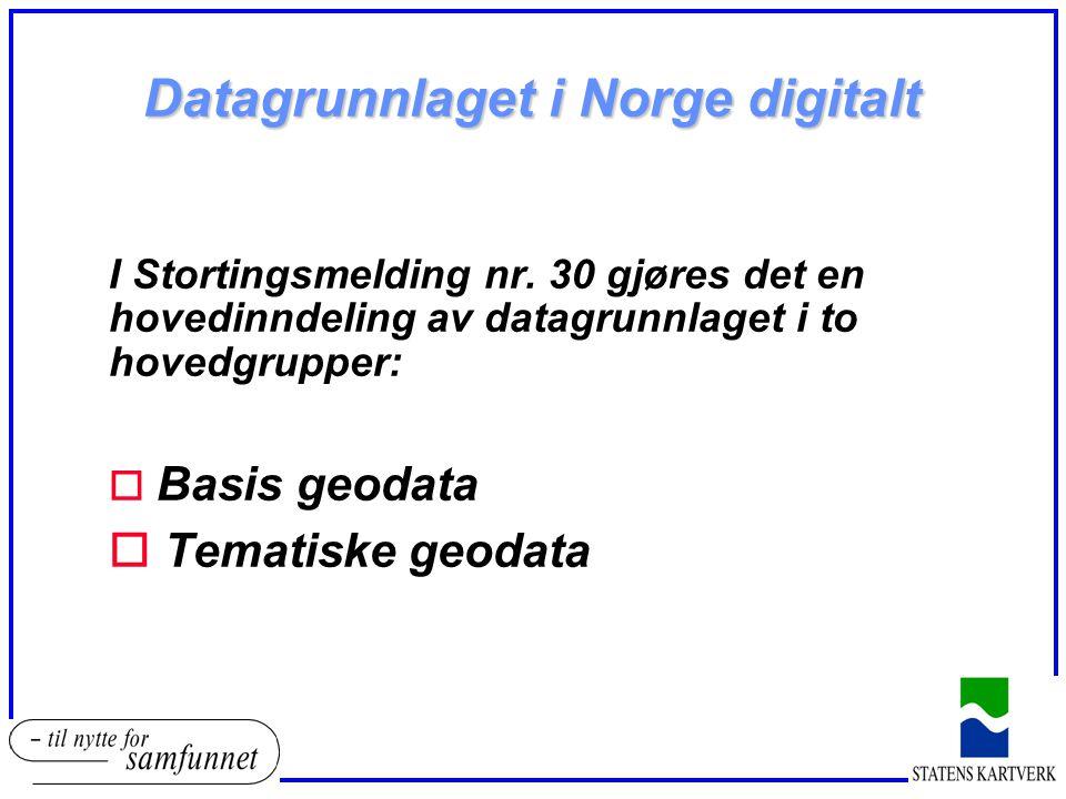 Datagrunnlaget i Norge digitalt I Stortingsmelding nr. 30 gjøres det en hovedinndeling av datagrunnlaget i to hovedgrupper: o Basis geodata o Tematisk