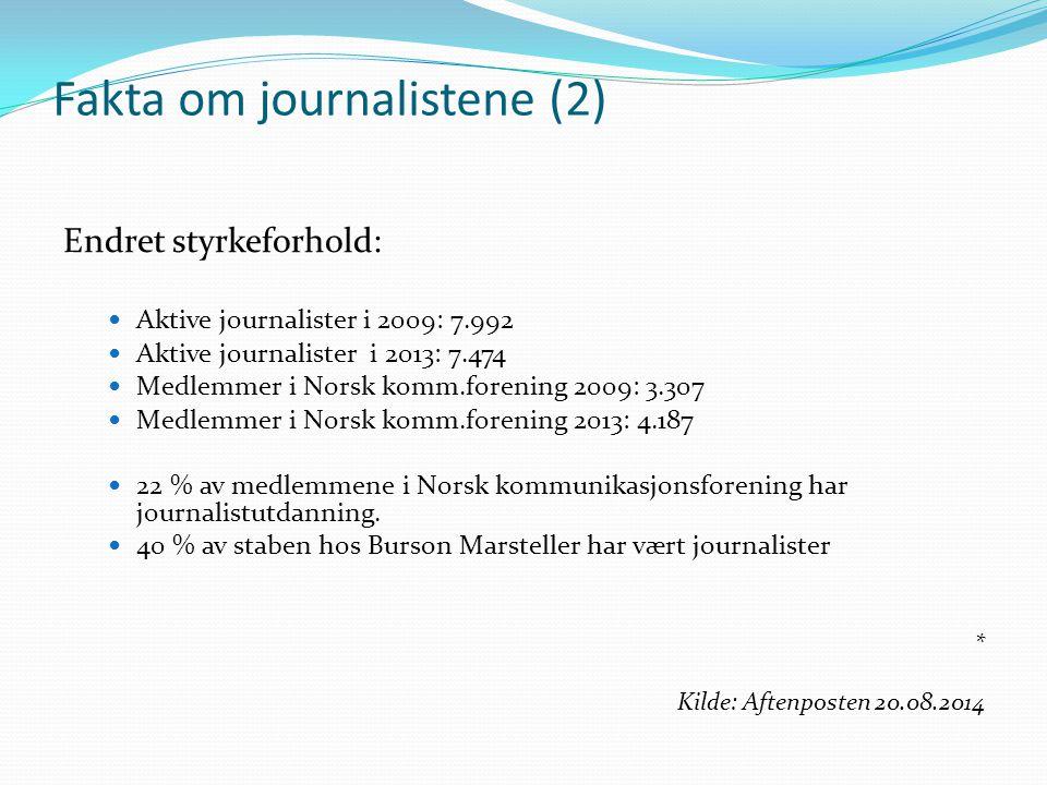 Fakta om journalistene (2) Endret styrkeforhold: Aktive journalister i 2009: 7.992 Aktive journalister i 2013: 7.474 Medlemmer i Norsk komm.forening 2