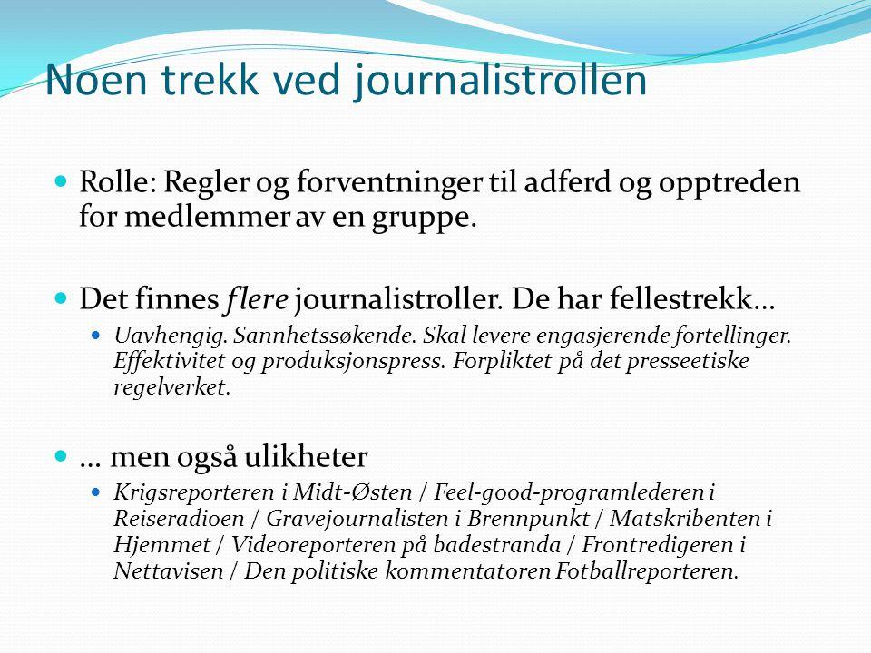 Noen trekk ved journalistrollen Rolle: Regler og forventninger til adferd og opptreden for medlemmer av en gruppe. Det finnes flere journalistroller.