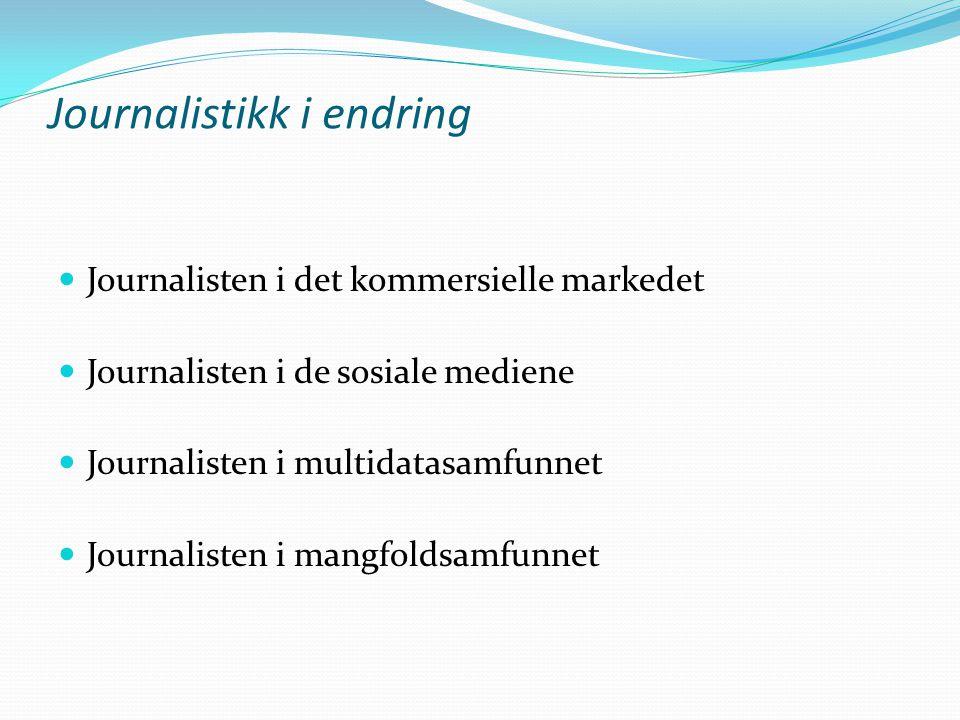Journalistikk i endring Journalisten i det kommersielle markedet Journalisten i de sosiale mediene Journalisten i multidatasamfunnet Journalisten i ma