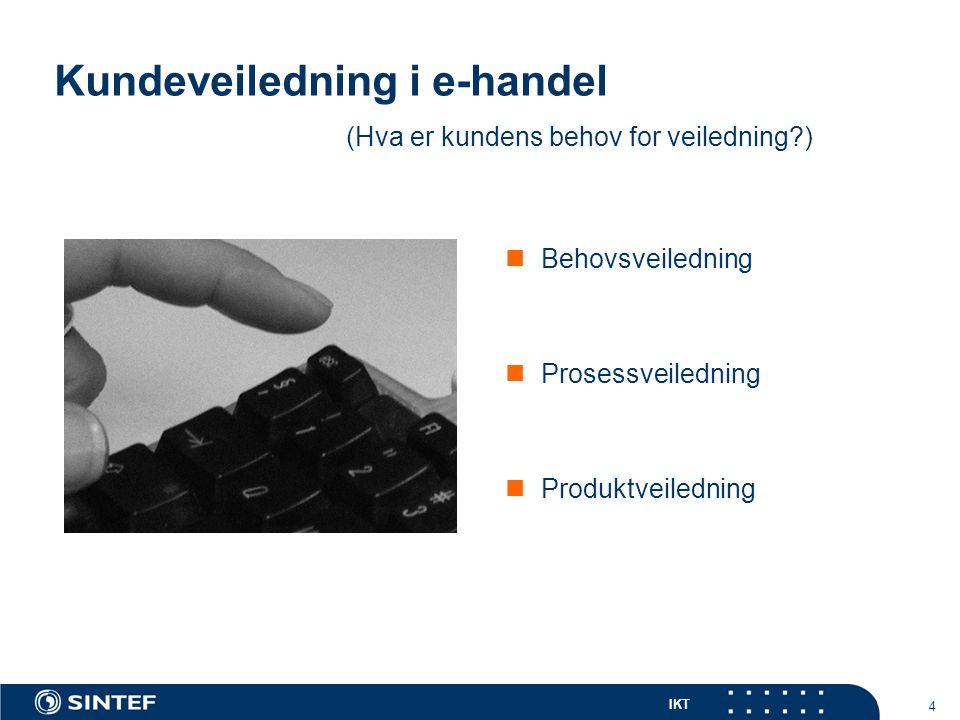 IKT 4 Kundeveiledning i e-handel Behovsveiledning Prosessveiledning Produktveiledning (Hva er kundens behov for veiledning?)