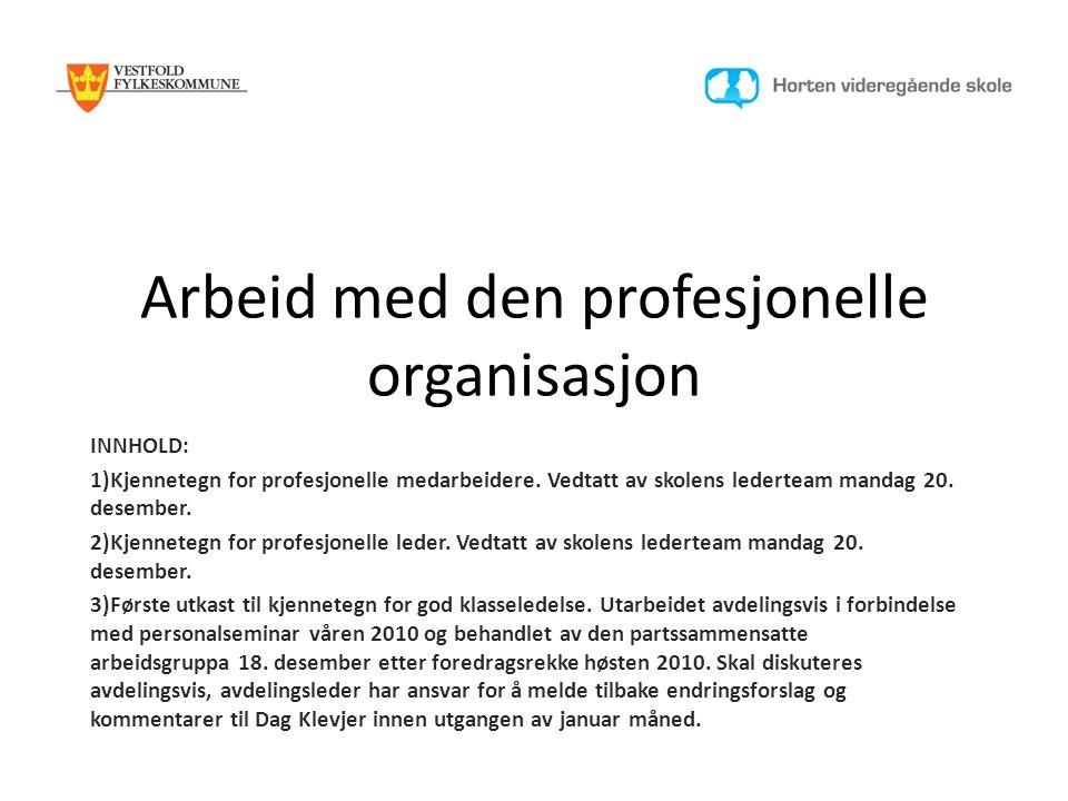 Arbeid med den profesjonelle organisasjon INNHOLD: 1)Kjennetegn for profesjonelle medarbeidere.
