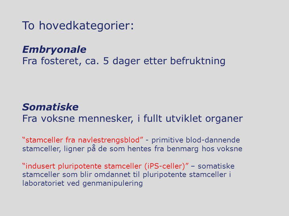 """To hovedkategorier: Embryonale Fra fosteret, ca. 5 dager etter befruktning Somatiske Fra voksne mennesker, i fullt utviklet organer """"stamceller fra na"""
