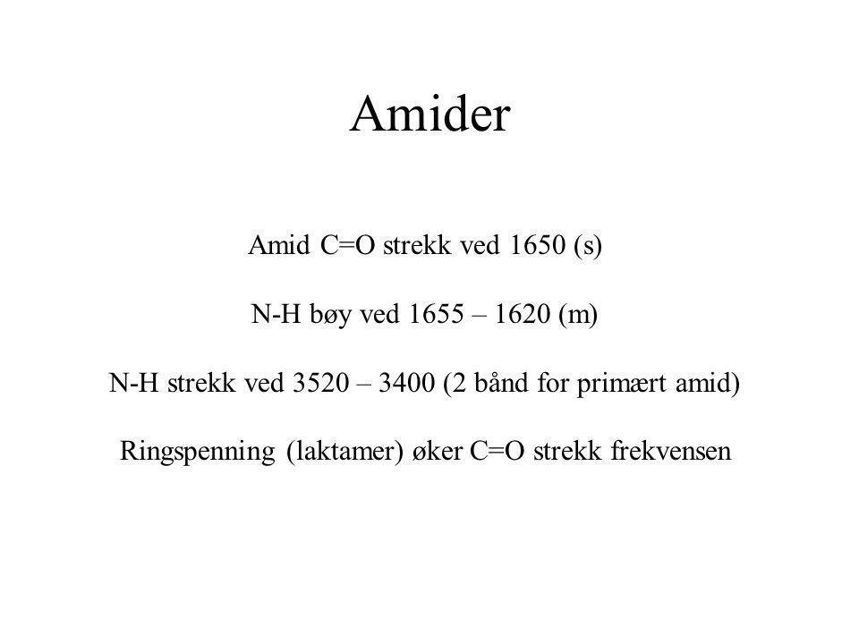Amider Amid C=O strekk ved 1650 (s) N-H bøy ved 1655 – 1620 (m) N-H strekk ved 3520 – 3400 (2 bånd for primært amid) Ringspenning (laktamer) øker C=O