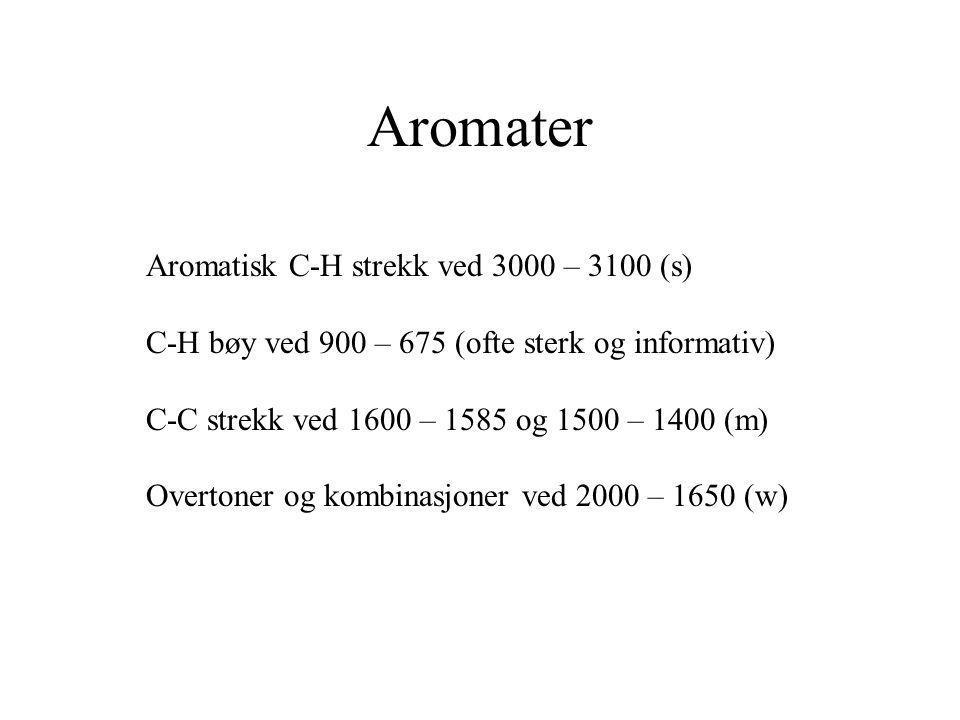 Aromater Aromatisk C-H strekk ved 3000 – 3100 (s) C-H bøy ved 900 – 675 (ofte sterk og informativ) C-C strekk ved 1600 – 1585 og 1500 – 1400 (m) Overt