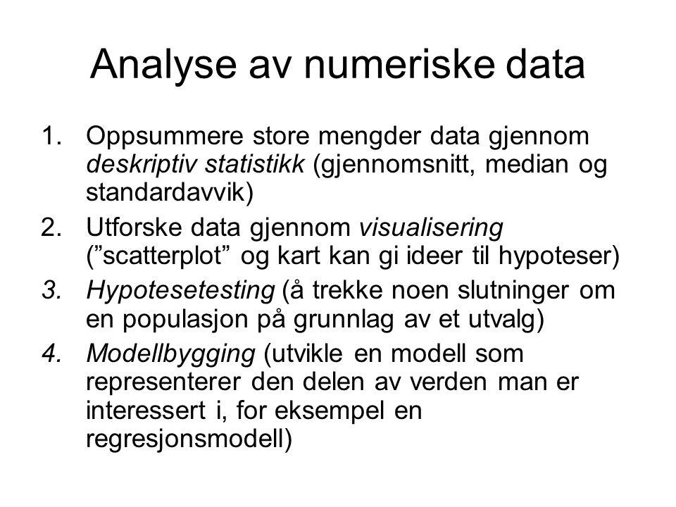 Analyse av numeriske data 1.Oppsummere store mengder data gjennom deskriptiv statistikk (gjennomsnitt, median og standardavvik) 2.Utforske data gjenno