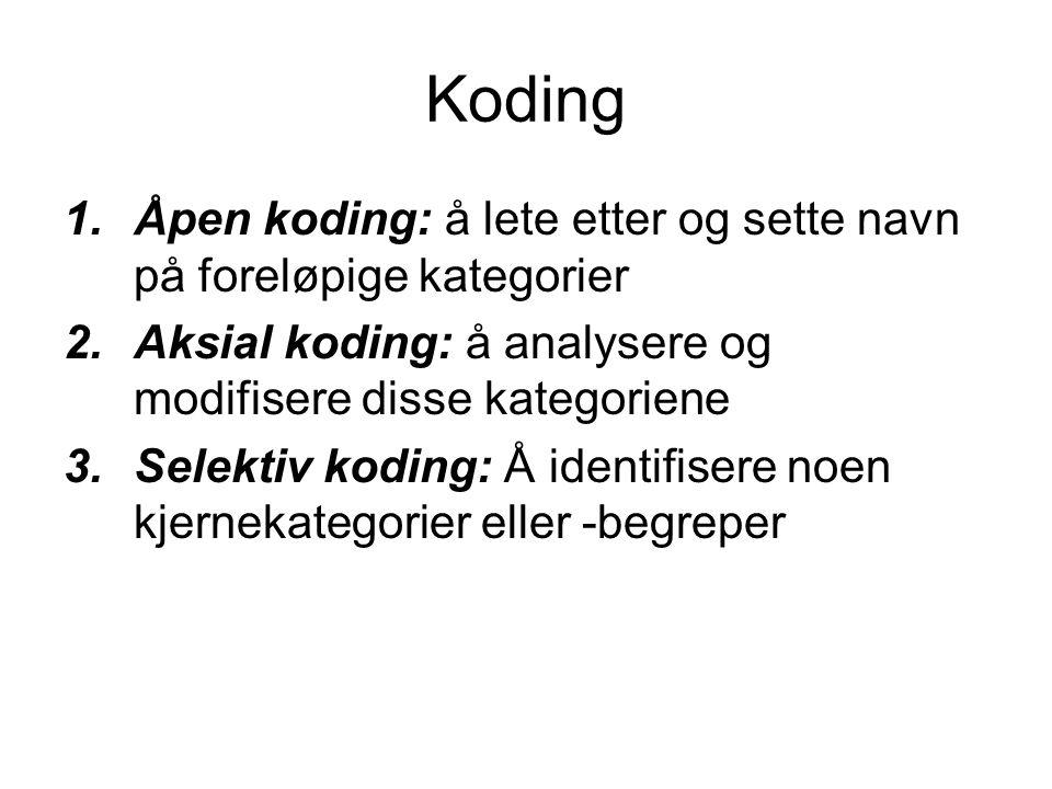 Koding 1.Åpen koding: å lete etter og sette navn på foreløpige kategorier 2.Aksial koding: å analysere og modifisere disse kategoriene 3.Selektiv kodi