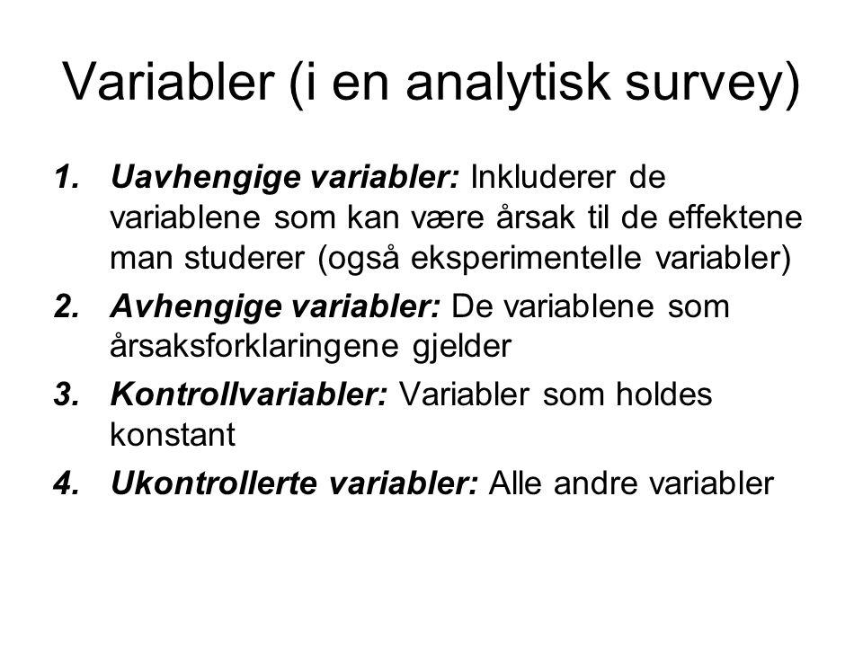 Variabler (i en analytisk survey) 1.Uavhengige variabler: Inkluderer de variablene som kan være årsak til de effektene man studerer (også eksperimente
