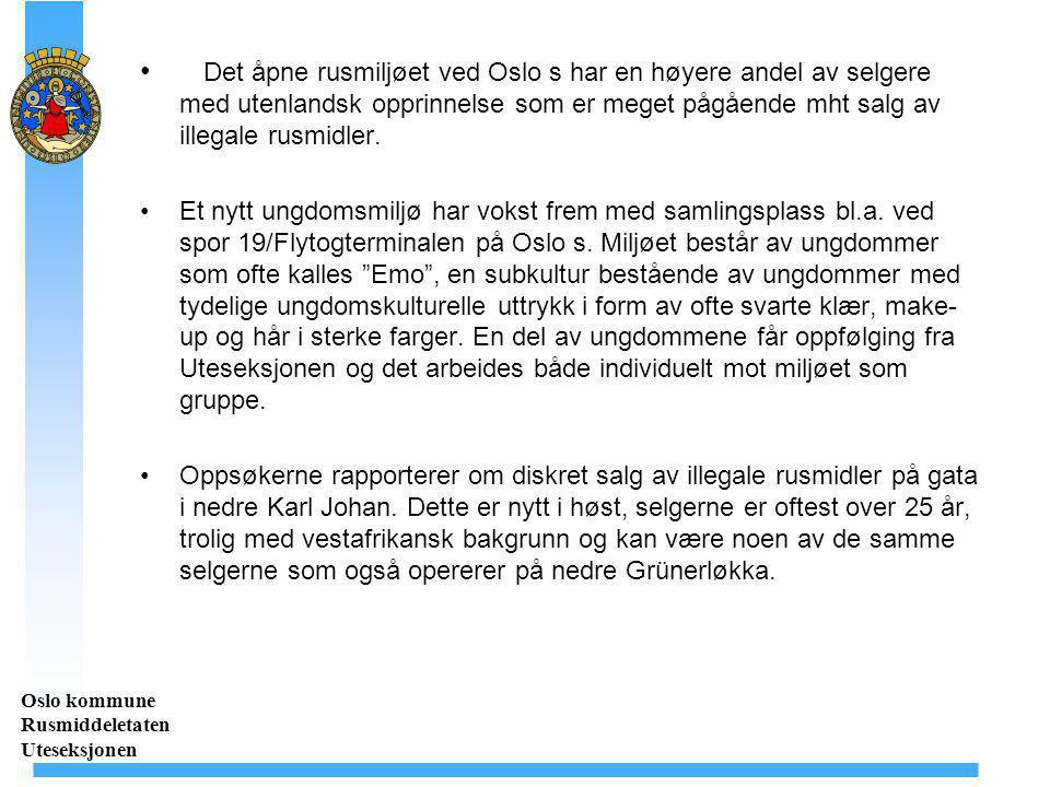 Det åpne rusmiljøet ved Oslo s har en høyere andel av selgere med utenlandsk opprinnelse som er meget pågående mht salg av illegale rusmidler. Et nytt