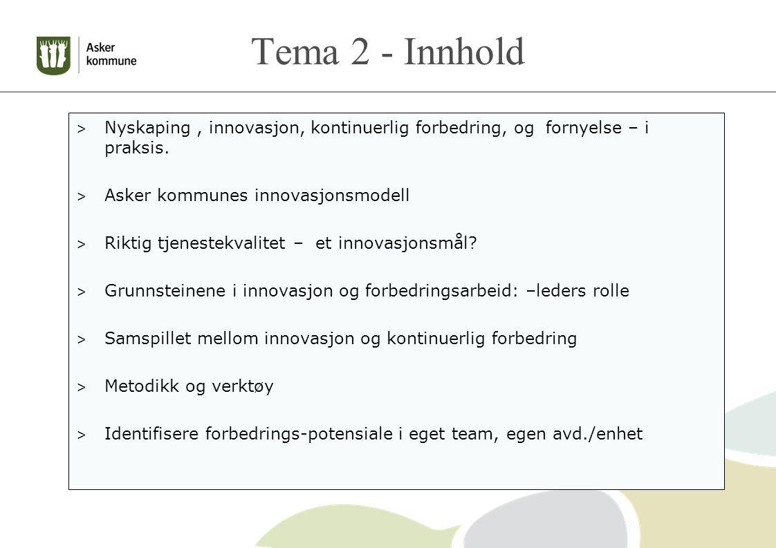 Tema 2 - Innhold > Nyskaping, innovasjon, kontinuerlig forbedring, og fornyelse – i praksis.