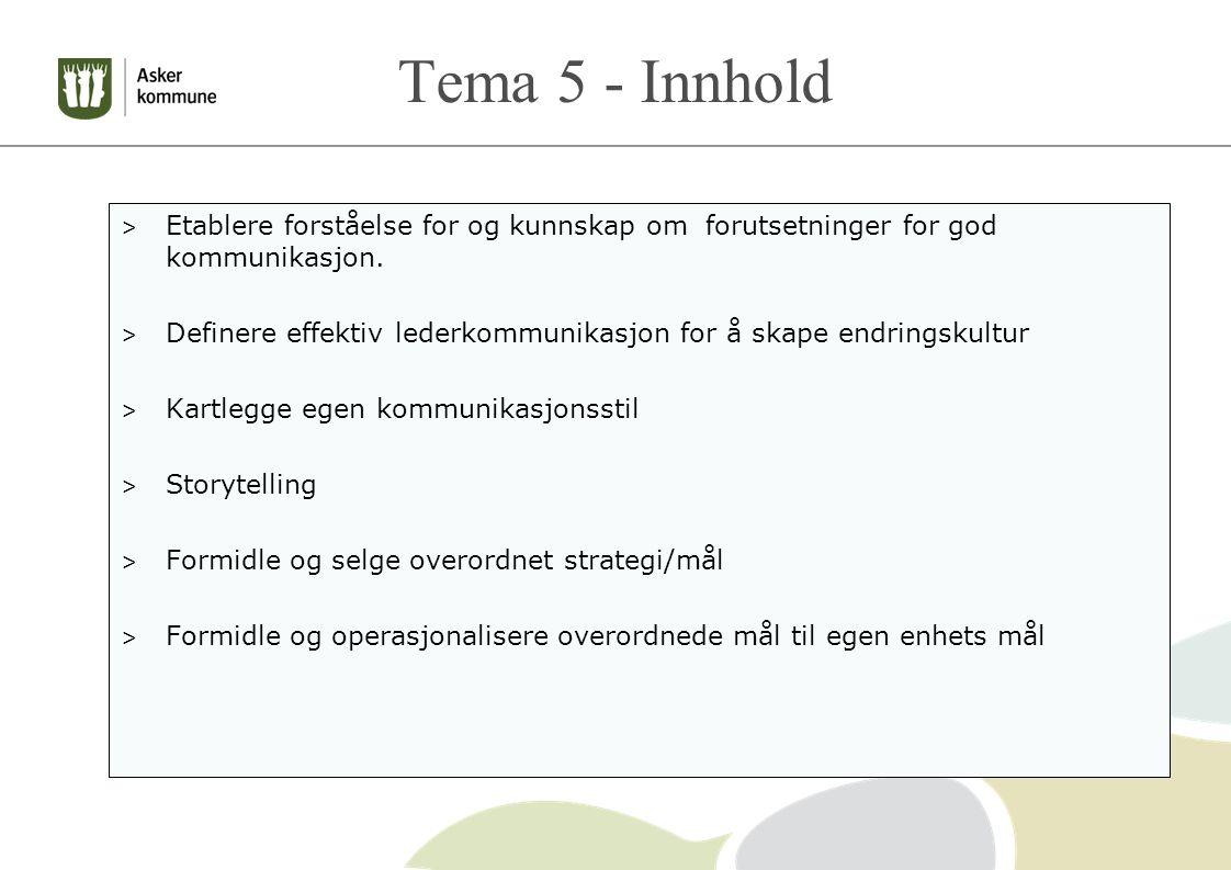 Tema 5 - Innhold > Etablere forståelse for og kunnskap om forutsetninger for god kommunikasjon.
