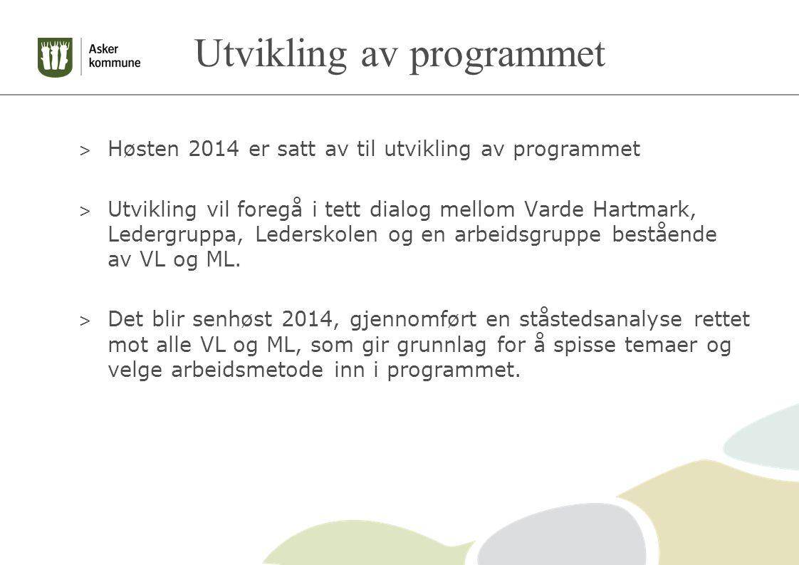 Utvikling av programmet > Høsten 2014 er satt av til utvikling av programmet > Utvikling vil foregå i tett dialog mellom Varde Hartmark, Ledergruppa, Lederskolen og en arbeidsgruppe bestående av VL og ML.