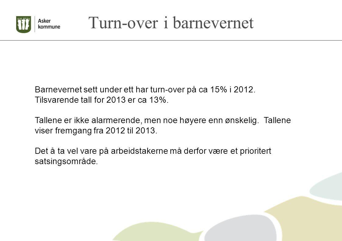 Turn-over i barnevernet Barnevernet sett under ett har turn-over på ca 15% i 2012.
