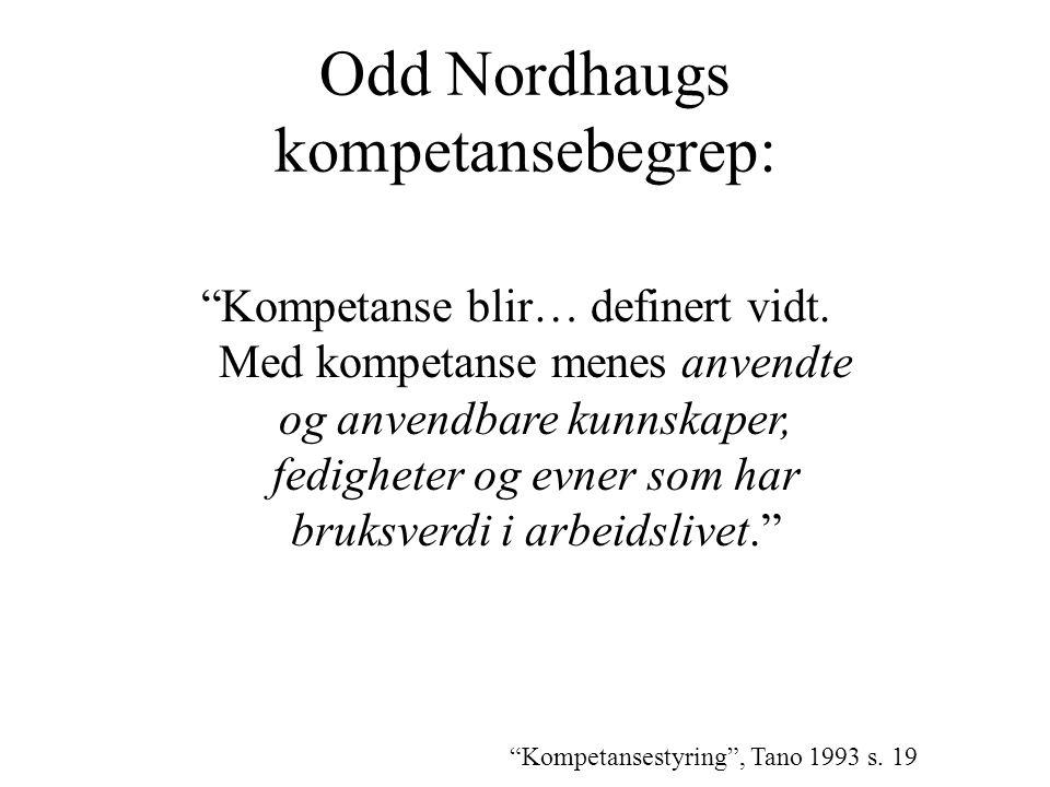 """Odd Nordhaugs kompetansebegrep: """"Kompetanse blir… definert vidt. Med kompetanse menes anvendte og anvendbare kunnskaper, fedigheter og evner som har b"""