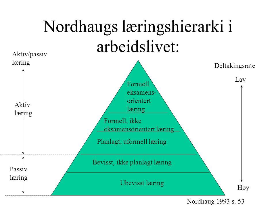 Nordhaugs læringshierarki i arbeidslivet: Formell eksamens- orientert læring Formell, ikke eksamensorientert læring Planlagt, uformell læring Bevisst,