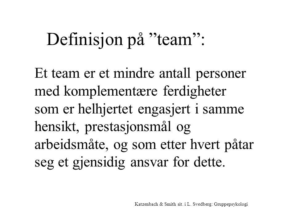 """Definisjon på """"team"""": Katzenbach & Smith sit. i L. Svedberg: Gruppepsykologi Et team er et mindre antall personer med komplementære ferdigheter som er"""