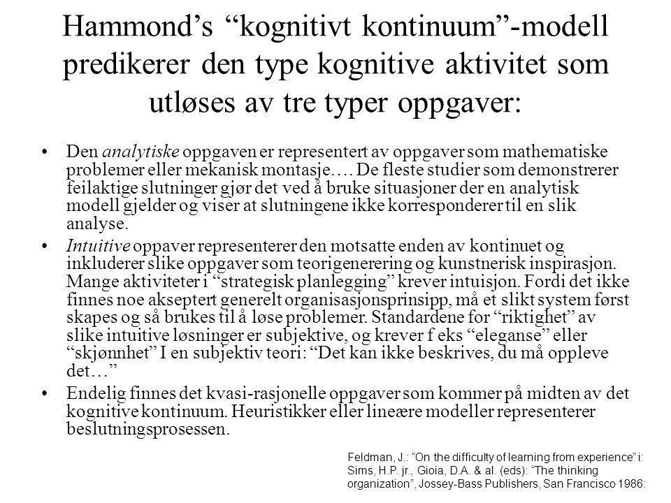 """Hammond's """"kognitivt kontinuum""""-modell predikerer den type kognitive aktivitet som utløses av tre typer oppgaver: Den analytiske oppgaven er represent"""